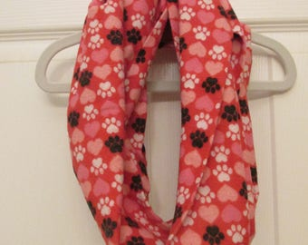 REDUCED PRICE Hearts & Pawprints Flannel Infinity Scarf
