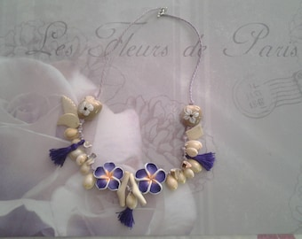 Shells and tiare flower necklace