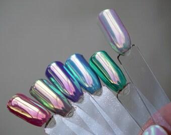 Unicorn Chrome Custom Press-On Gel Nails - Any Shape or Size - 6 Colors - Fake Nails - False Nails - Made To Order