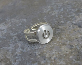 Power Up Ring silver - Recycled Mac Key, apple computer, sterling silver, adjustable, gift, birthday, anniversary, wedding
