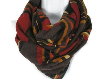 Sweater Knit Scarves Brown Camel Orange Black Rust Infinity Scarves Knit Infinity Scarves Chunky Scarves Brown Print Scarves Fall Scarves