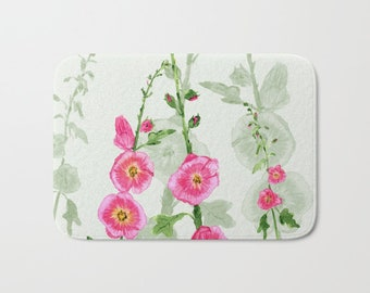 Hollyhock Floral Bath Mat -  Watercolor bloom, decor, pink green, Plush mat  pretty, spring
