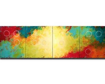 Original Large Abstract Braille painting - 20 X 64 Inches-by Artist JMJartstudio- HOPE -Wall art-wall decor - Red and orange custom