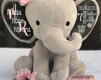 Birth announcement, stuffed animal, memory bear, elephant, newborn present, newborn gift, baby shower, baby gift, baby pr