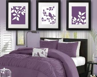 Master Bedroom Art Print - Purple Bedroom Decor - Bath Art - Bath Decor - Bird Bath Decor - Bird Tree Bedroom Art Print - Purple (NS-683)