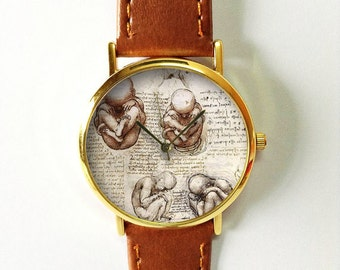 Fetus in a Womb Watch,Da Vinci Drawings, Doctor Gift,Vintage Style Leather Watch,Mens Watch,Women Watches, Boyfriend Watch, Gold Silver Rose