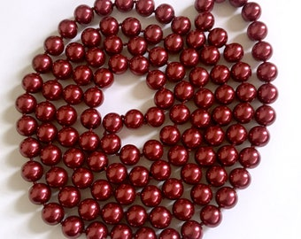 Extra-Long, Festive Cranberry Red Faux Pearl Necklace