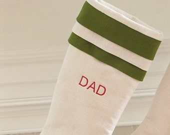 Personalized Linen Christmas Stocking Embroidered White Green Cuff Monogram