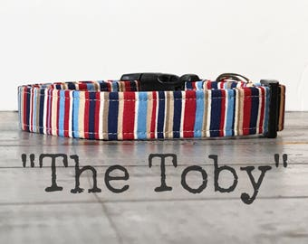 DOG COLLAR, Dog Collars, The TOBY, Dog Collars for Boys, Boy Dog Collar, Stripe Dog Collars, Handsome Collars
