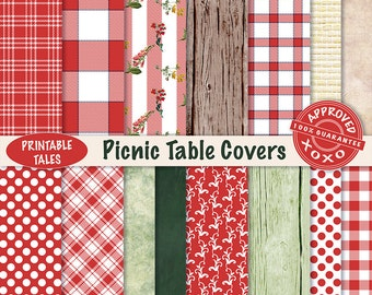 Scrapbook paper Picnic Table Covers digital papers -  Plaids Wood Wicker Check Field Flowers Polka Dots - UNLIMITED Commercial use!