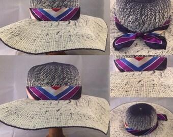 Navy and Cream Large Floppy Sun Hat, Satin Scarf, Holiday Hat, Handmade
