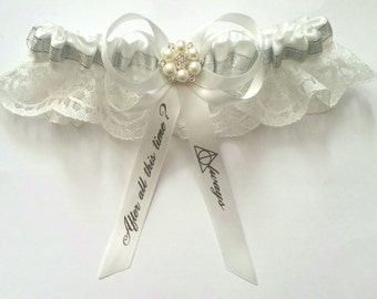 After all this Time Inspired Themed Wedding Satin/Satin and Lace/Garter Set