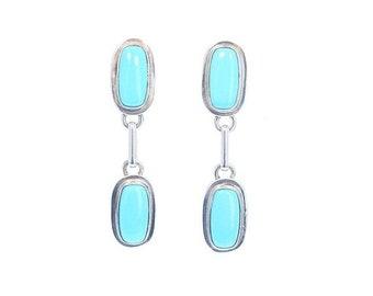 40% Off Earring Sale : ) SLEEPING BEAUTY TURQUOISE Earrings Sterling 2 Stone NewWorldGems