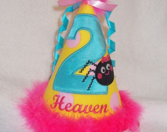 Personalized Itsy Bitsy Spider Girl's Birthday Hat embroidered applique birthday year number and child's name. Bright Colors Spider Birthday