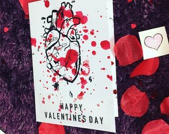 Handmade gothic/alternative Screen printed Valentine's Day Card