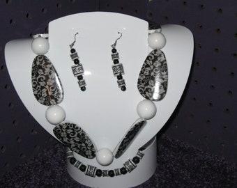 BLACK / WHITE DAMASK Print Handmade Jewelry Set of Necklace, Bracelet, and Pierced Earrings.
