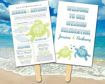 Beach Wedding Program Fan - Sea Turtle Wedding Porgram - Oasis Lime Green Double Sided Printable Wedding Program | YOU print or WE print