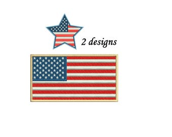 US Flag Embroidery Design - 2 designs instant download - American Flag Embroidery
