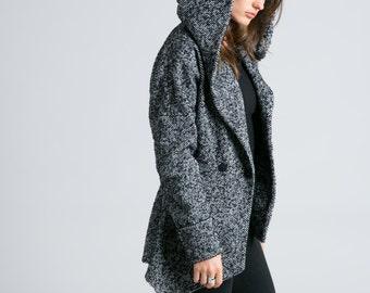 Wool Blazer / Hooded Jacket / Sweater Jacket / Asymmetrical Jacket / Trench Coat / Wool Jacket / Marcellamoda - MC0775