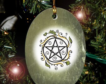 Swirling Leaves Pentacle, Yule Ornament