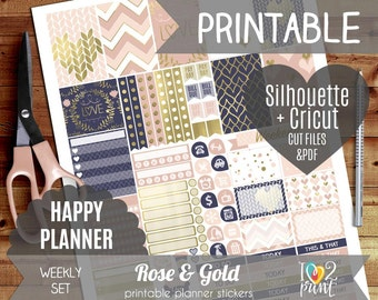 Rose and Gold Weekly Printable Planner Stickers, Happy Planner Stickers, Weekly Stickers, HP Stickers, Mambi Stickers - Cut files