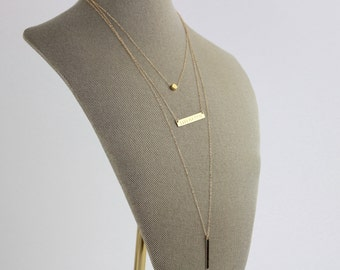 Layered Necklace with Bar/ Long Gold Layering/Vertical Bar Layered Necklace/Horizontal Bar Necklace/Tiny Dot Necklace/Nameplate Necklace