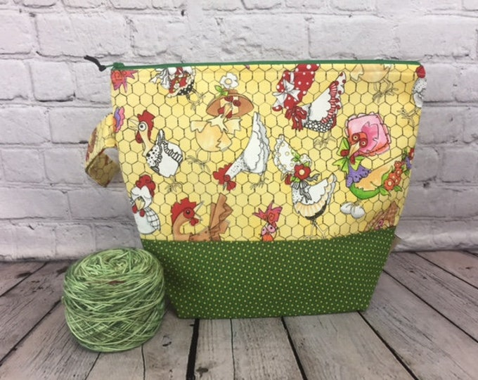 Chickens w/ Full length pocket, Knitting project bag, Crochet project bag,  Zipper Project Bag, Yarn bowl