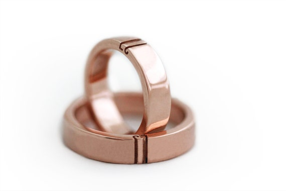 unique couple ring set initials ring set rose gold wedding ring set matching wedding bands promise ring mens wedding band wedding band - Rose Gold Wedding Ring Set