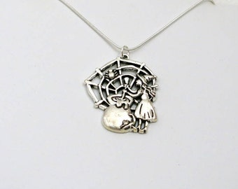 Double, Double, Toil and Trouble Pendant Necklace | Silver Halloween Jewelry (Item #458)