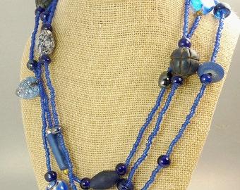 Vintage Art Glass & Wood Bead Necklace Blue Flapper Length Necklace