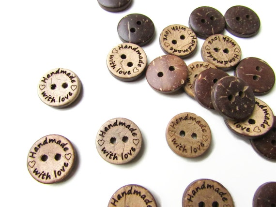 10 Handmade with Love Buttons 15 mm. Coconut Shell handmade with love label - Made with love - Handknit handmade buttons - Handmade label