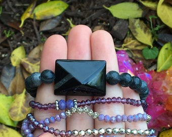 Onyx & Purple Amethyst Bracelet Bundle of (2)