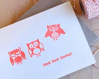 Cute Owl, cute birthday card, celebration card, congratulations, all occasion card - Hoot Hoot Hooray - quirky fun animal children's card.