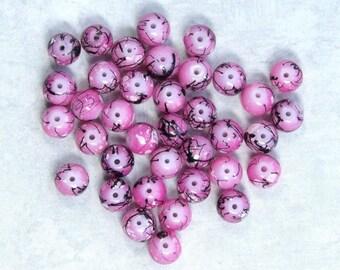 Pink And Black Beads Plastic Beads 6mm Beads Small Beads Fuchsia Pink Beads