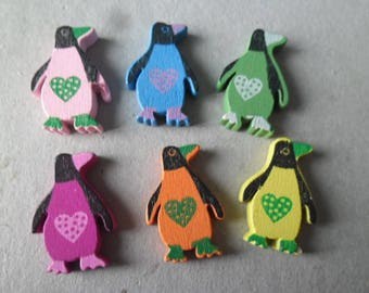 x 10 mixed multicolor Penguin painted wooden beads 25 x 17 mm