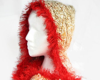 Red Hooded Scarf, Fringe Trim Hoodie Scarf, Chunky Hand Knit Scarf, Red Fur Trim Scarf Hood, Hoodies for Women, Valentines Gift