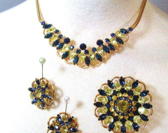 50s Kramer of New York Vintage Rhinestone Parure Set, Sapphire Blue & Citrine Yellow, Necklace, Brooch Pin + Earrings, Signed Kramer NY