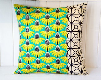 Patchwork Pillow Cover, 20x20, green and yellow floral