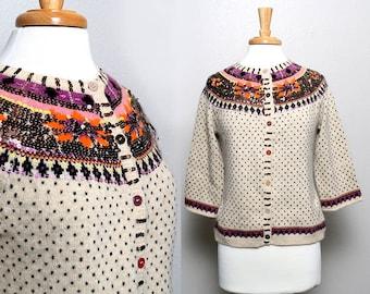 CLOSING SALE vintage 90s sequin cardigan / boho / rustic / boston proper