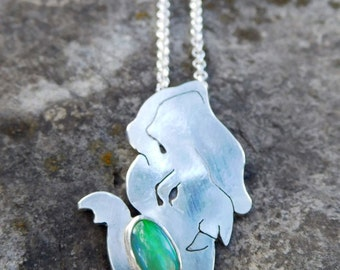 Opal elephant necklace - Sterling silver pendant | metalwork | silversmithed | lucky elephant | talisman necklace | animal pendant