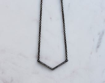 Cassiopeia Gunmetal Pave Layering Necklace