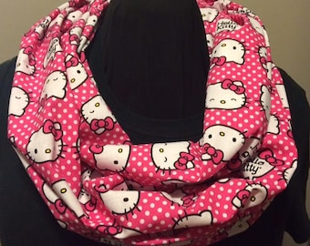 Hello Kitty Pink Polka Dot Cotton Fabric Infinity Scarf