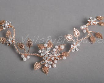 Rose Gold Hair Vine, Bridal Pearl and Rhinestone Hair Jewelry - Ava