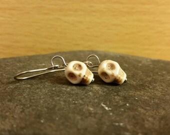 Skull earrings, skull jewellery, skeleton, sugar skull, day of the dead, dia de los muertos, surgical steel earrings