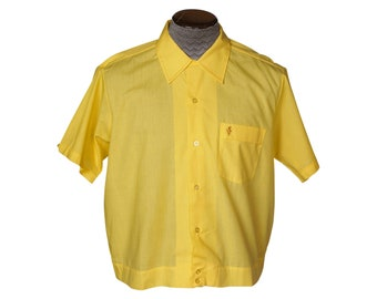 Vintage 1960s Rockabilly Neck Loop Collar Shirt Yellow Size L Golden Lucerne