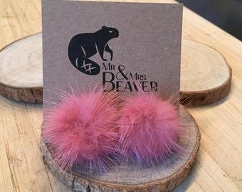 Earrings, fur, authentic mink!