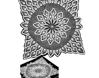Vtg Doily PATTERN 7277 TV Doily in 8 sizes Doily Scarf Tablecloth Bedspread in PDF format  instant Download