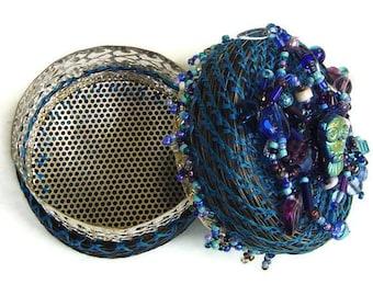 Horsehair  Treasure Box, Athena's Keep, Beaded Jewelry Box, Blue Silver