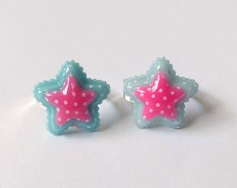 Blue and Pink Star Rings - Kawaii Jewelry Fairy Kei Jewelry Pop Kei Jewelry Decora Jewelry Harajuku Fashion Sweet Lolita Jewelry