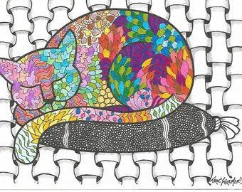Zentangle inspired cat illustration